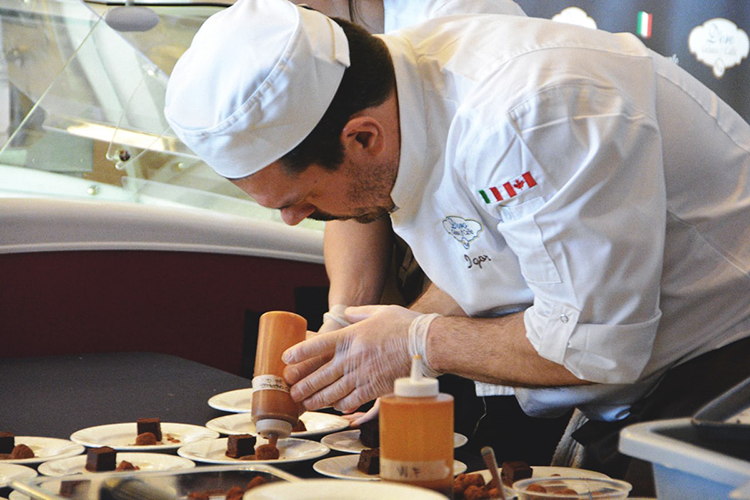 chef creating dessert at 2018 vancouver wine fest