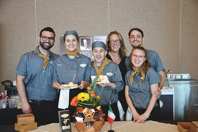 d'oro gelato team presenting winning dessert in 2017
