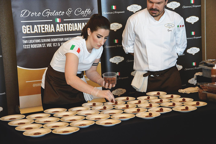 preparing dessert dishes at 2018 vanwinefest