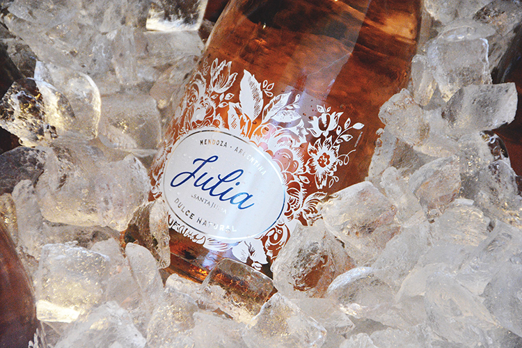 julia wine bottle on ice