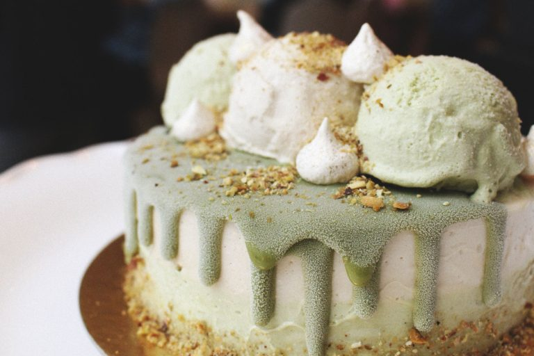 gelato cake with green frosting